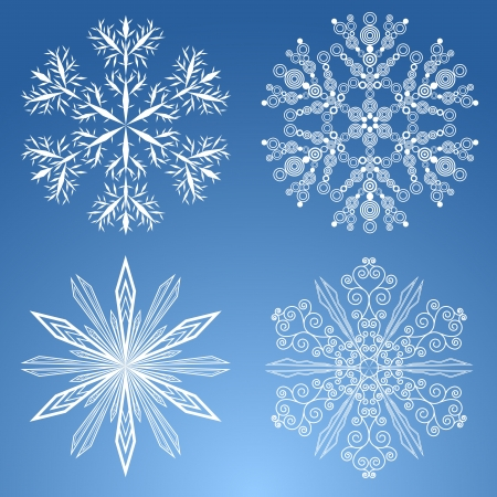 Four white snowflakes on the blue background.