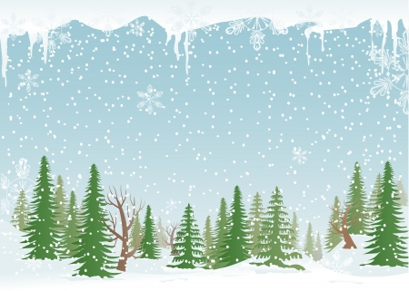 Green, snowy forest with fir-trees and snowflakes. Illustration