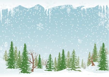 Groen, besneeuwde bossen met dennen-bomen en sneeuwvlokken.
