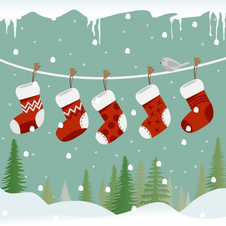Five red christmas socks on the rope with little bird  Vector