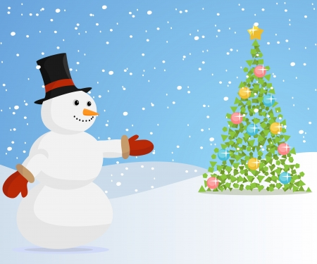 Christmas snowman with hat inviting to the christmas tree  Vector