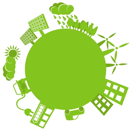 Simple drawing of green planet with alternative source of power  Vettoriali