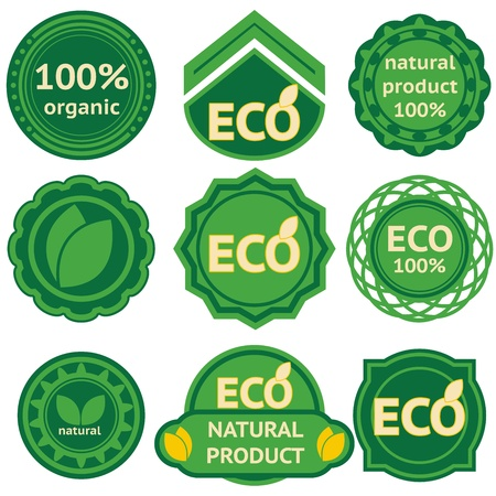 Eight green labels for eco and natural products.