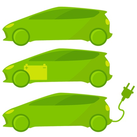 Three ecological, green cars with plug and battery.