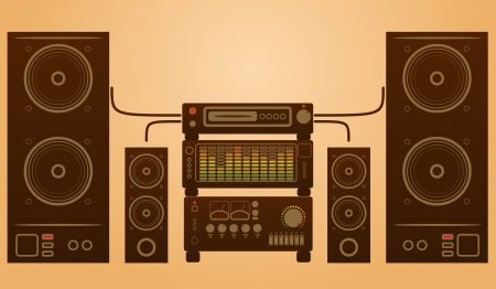 loud speaker: Retro stylish audio system with speakers and equalizer.