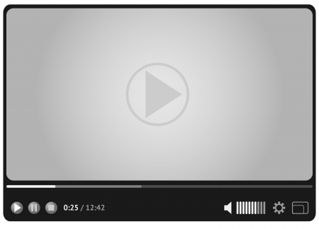 Simple and style video player for web in gray colors.