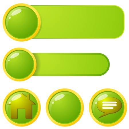 Green and Yellow web page menu elements. Stock Vector - 17210920