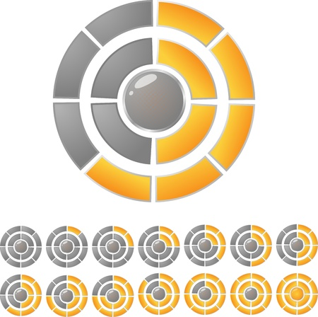 Gold and gray round download bar with twelve position. Vector