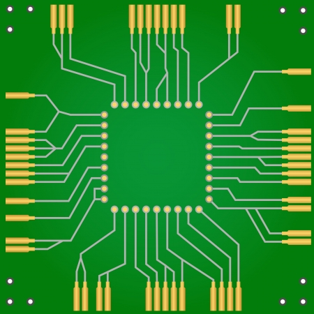 Green PCB with golden connectors and slot for CPU. Vector