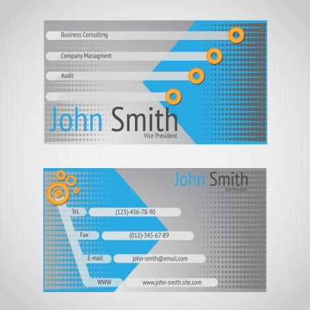 Standart 90 x 50 mm business card with cyen and gray colors.