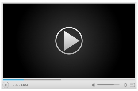 Simple and style light video player for web with one button play pause. All elements are conveniently grouped. Illustration