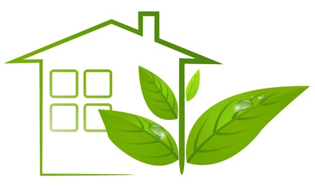 Ecological logo of green house with leafs and water drops.  Illustration