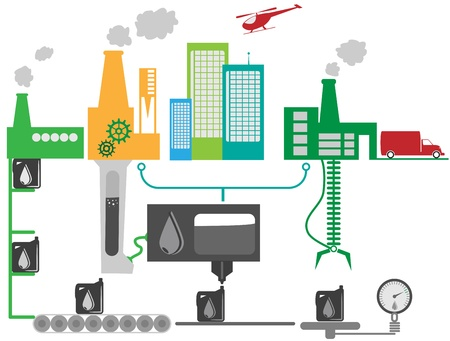 producing: Illustration of industrial factory that producing oil