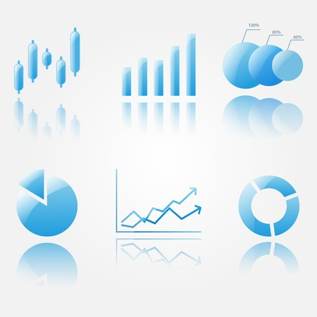 Six shiny blue chart icons isoleted on white. Illustration
