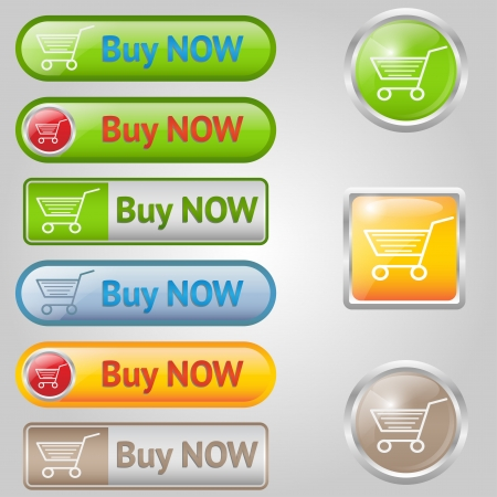 Nine shiny buy buttons with text and cart.