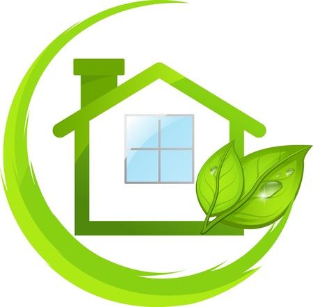 nettoyer: Logo de la maison de l'�co verte simple avec des feuilles Illustration