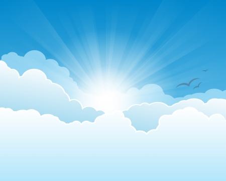 sol caricatura: Cielo con nubes y sol con los rayos.