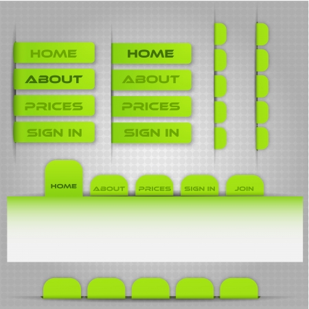 vertical bars: Site menu template with bookmarks for each category on the site in green and gray colors. Illustration