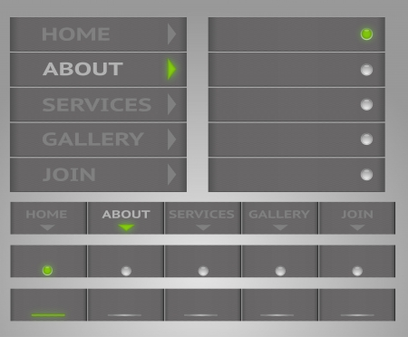 Editable, vector site menu in gray colors with carbon texture. Left and top versions included.