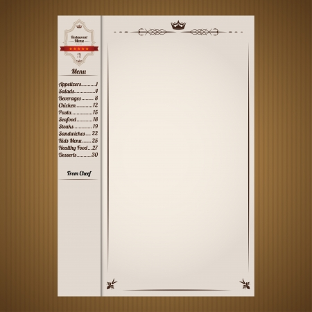 Vintage restaurant menu template in chocolate colors