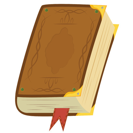 Yellow magic book with bookmark and golden corners  Vector