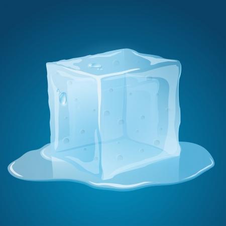 frigid: Transparent, melting, blue ice cube, with puddle