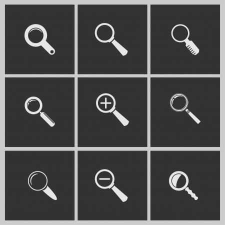 Magnifying glass, set of different white icons  Illustration
