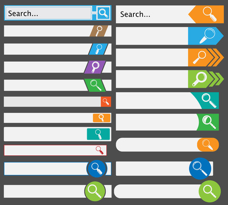 icons site search: Set of modern, flat, metro styled search form  Illustration