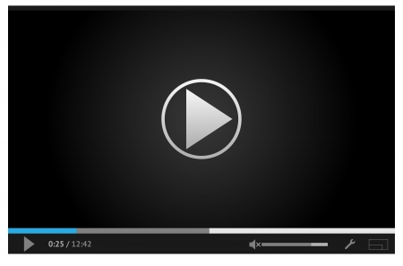 conveniently: Simple and style dark video player for web with one button play pause  All elements are conveniently grouped  Illustration