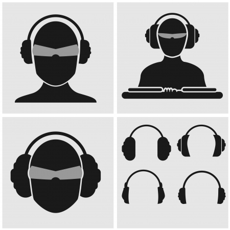 Set of icons with heads, include DJ mixer and four different headphones