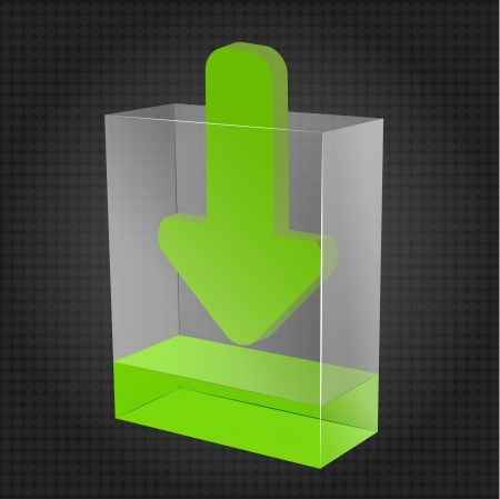 Transparent box with green liquid and arrow representing download content