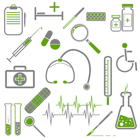 Set of medical icons with green and gray colors  Illustration