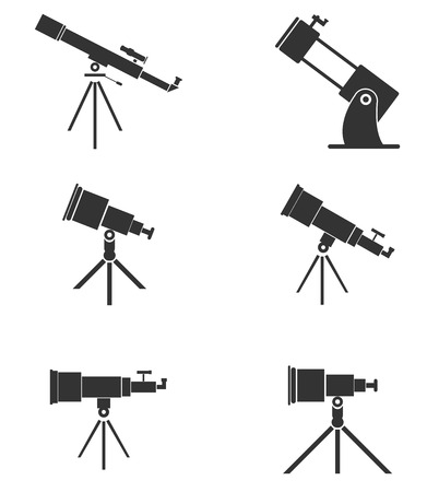 Set of six simple, black telescopes icons  Illustration