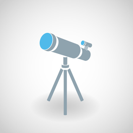 Simple blue icon of telescope on tripod