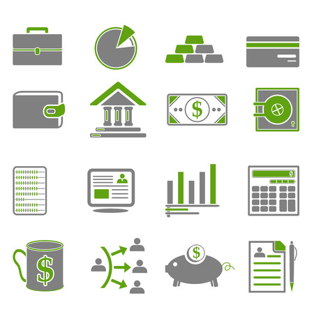 Finance, business icons in green and gray colors