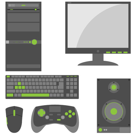 Set of simple, external computer peripheral parts in gray and green colors