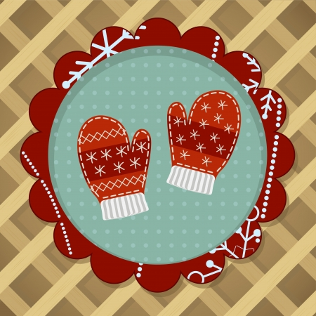 Cute red wool mittens with embroidery for christmas card