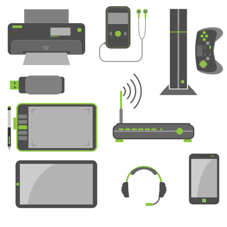 Simple and stylish computer devices icons in green and gray colors  Illustration