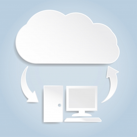 Cloud computing concept with white paper computer icon connected to cloud