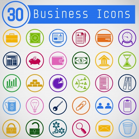 Set of metro styled, colorful business icons  Vector
