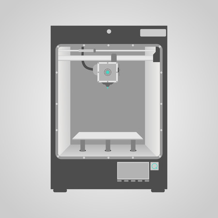 Prototype model of 3d printer in gray and white colors  Easy to place inside printer any of your product to demonstrate new 3d printing technology