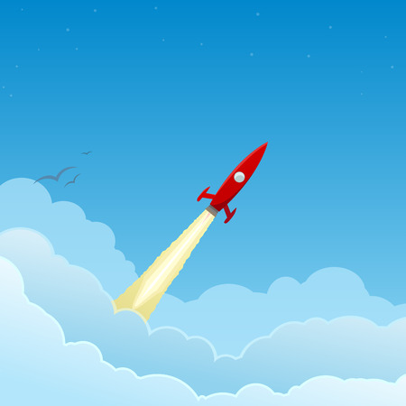 Red rocket flying through the clouds from left to right, to the stars