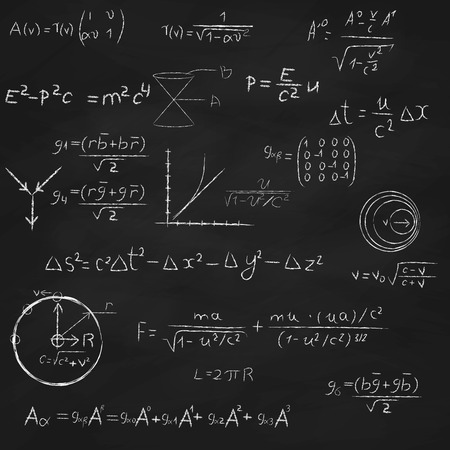 Achtergrond met bord, met de relativiteitstheorie en snaartheorie vergelijkingen, formules en hand tekeningen Stock Illustratie