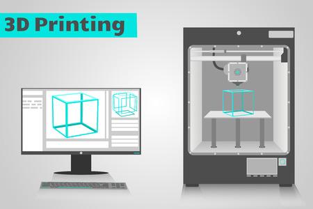 Impresora 3D imprime un cubo de plástico cian desde el monitor LCD de computadora muestra ui software con el modelo de cubo 3D