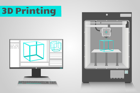 prototipo: Impresora 3D imprime un cubo de plástico cian desde el monitor LCD de computadora muestra ui software con el modelo de cubo 3D