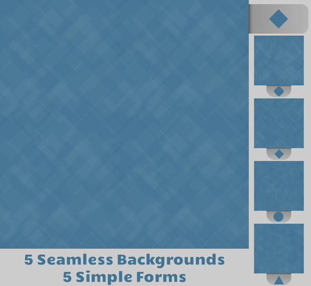 Set of five seamless backgrounds  Background consist of transparent, simple shapes, squares, squares with rounded corners, dots, circles, triangles and blue background  Vector