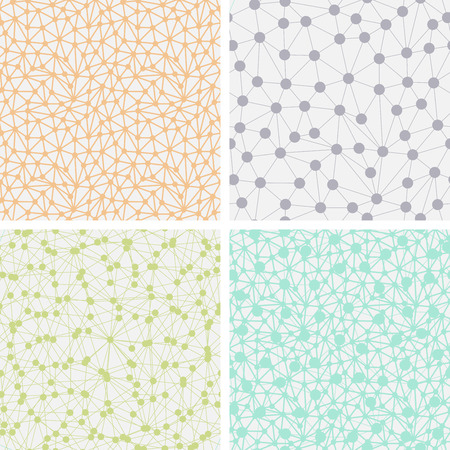 Four seamless light backgrounds with dots connected with lines  Illustration