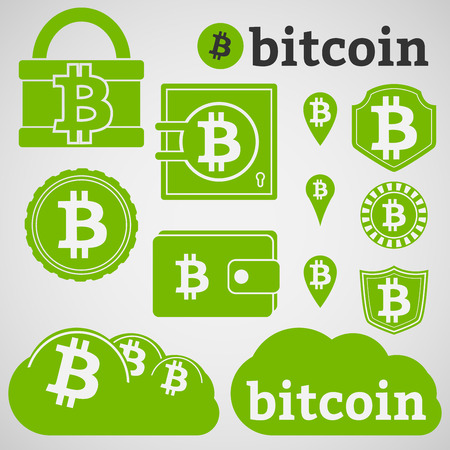 e wallet: Set of icons with letter B, symbol of bitcoin  Padlock, wallet, coin, shield and cloud green bitcoin icons  Illustration