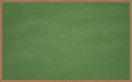 Classic, school, green chalkboard with wooden frame, with marks and scratches from chalk   Illustration