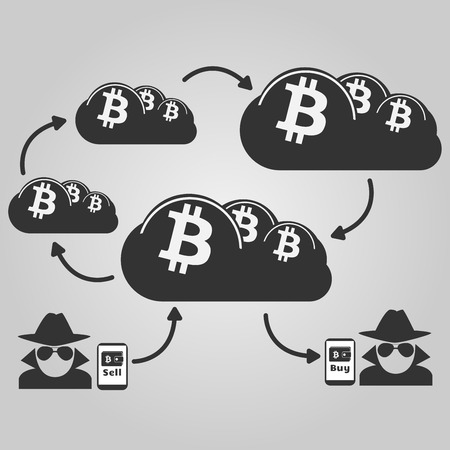 Illustration of anonymous circulation between bitcoin seller and buyer, using cloud online service  Illustration